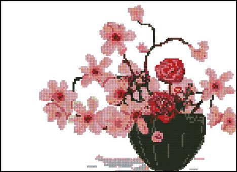 крестом черно-белые цветы